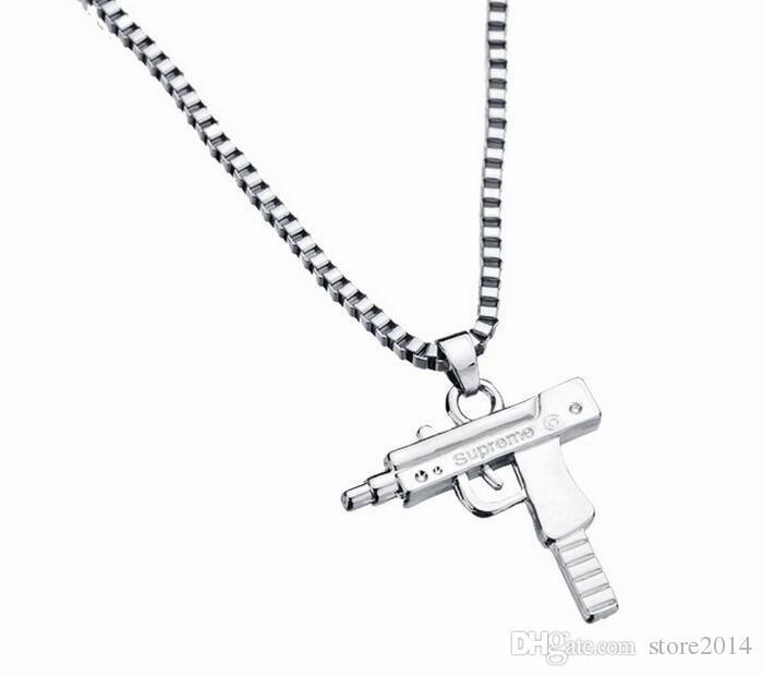 Neue Uzi Gold Kette Hip Hop Lange Anhänger Halskette Männer Frauen Mode Marke Pistole Form Pistole Anhänger Maxi Halskette HIPHOP Schmuck