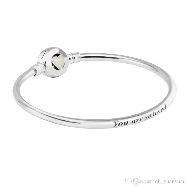 bracelet trade logo shine clasp heart pandora silver bangle moments bangles