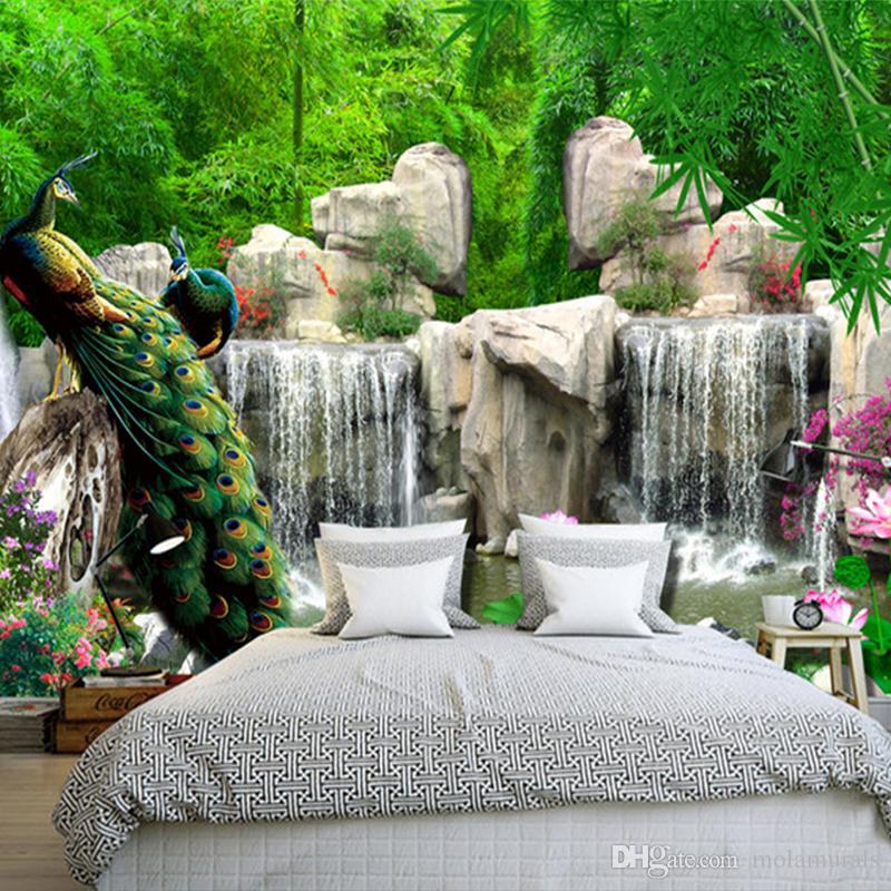 3d estereoscópico foto papel de parede paisagem pintura retro floresta de bambu pavão mural sala de estar tv pano de fundo parede home decor