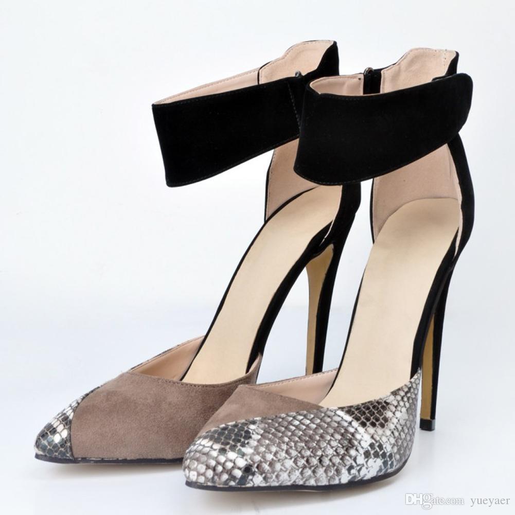 Zandina femmes 10cm bout pointu bride à la cheville talon D`orsay escarpins tribunal chaussures à talon noir XD209