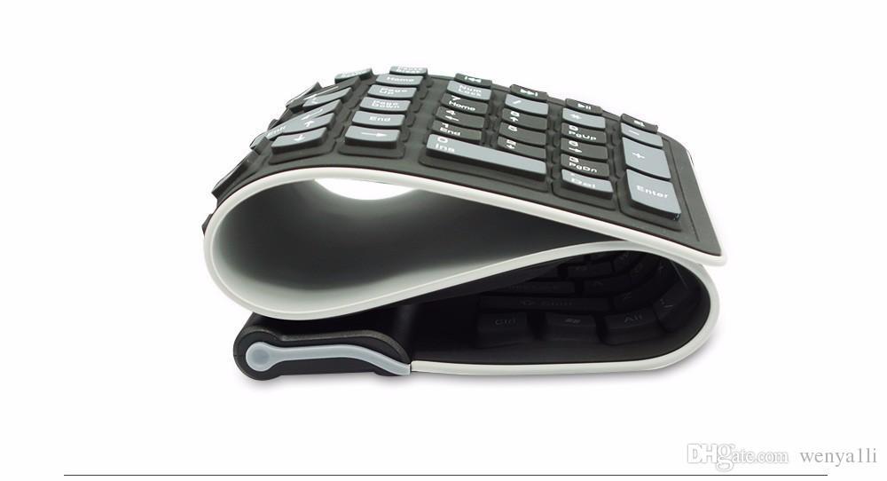 Portable 2.4G Sans Fil Silicone Soft Keyboard 107 clé Flexible Étanche Pliant Clavier De Poche Clavier En Caoutchouc pour PC Portables