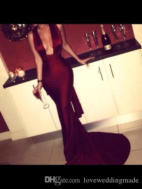 Fashion 2017 Wine Red Mermaid Sexy Prom Dresses Evening Party Wear Cut Out U Neck Satin Long Formal Wedding Guest Gown Custom Made