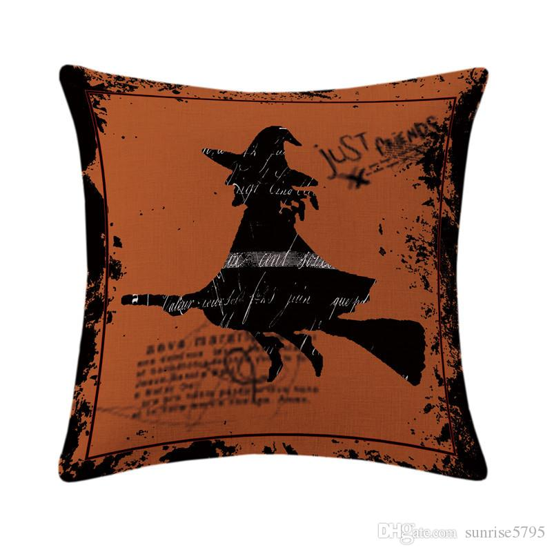 shabby chic home decor halloween cushion cover witch throw pillow case for sofa chair skull pumpkin spider almofada