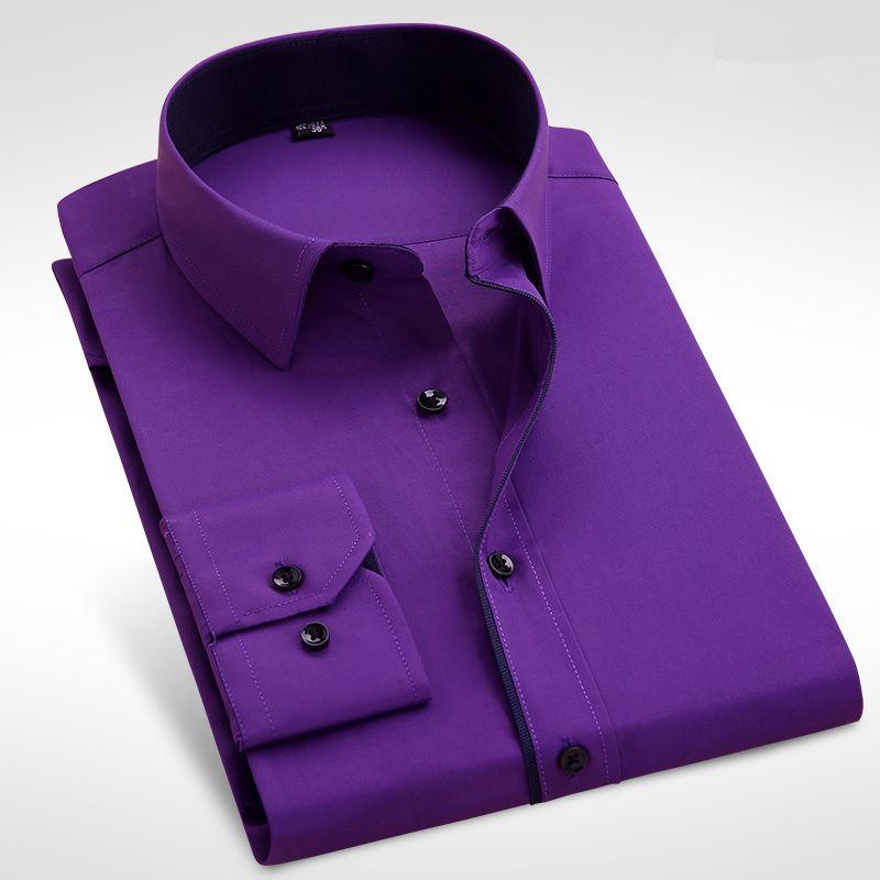 5b2fc56520e ... Рубашка С Длинным Рукавом Для Мужчин С Длинным Рукавом Брендовая Мужская  Мода Твердая Черная Белая Фиолетовая Розовая Повседневная Рубашка Slim Fit  Plus ...
