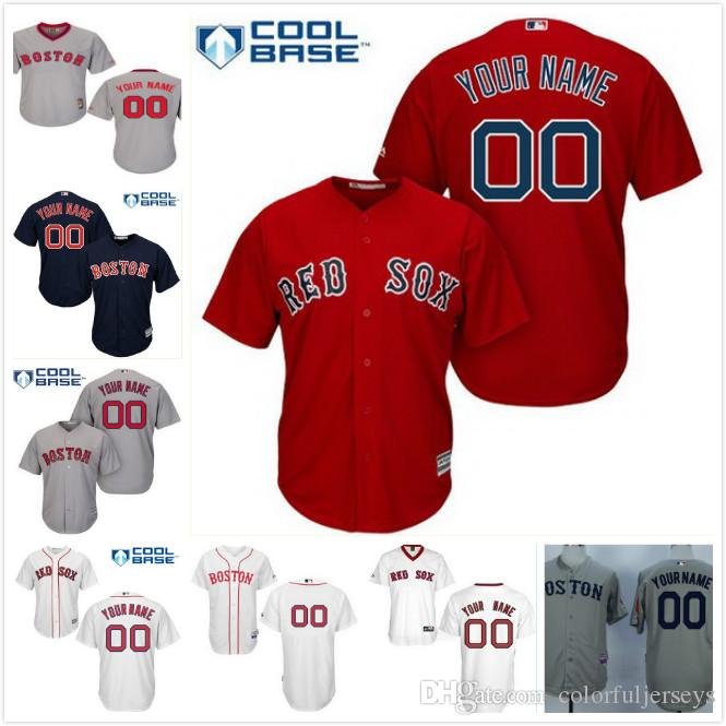 ... T-Shirt 2017 Stitched Mens Womens Youth Kids Custom Boston Red Sox  Customized Navy Blue Red White Gray ... fe3244ce358