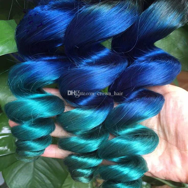 학년 8A Ombre 머리 확장 1B 블루 그린 3 톤 머리 Weft 새로운 패션 Ombre 컬러 느슨한 웨이브 인간의 머리카락 번들