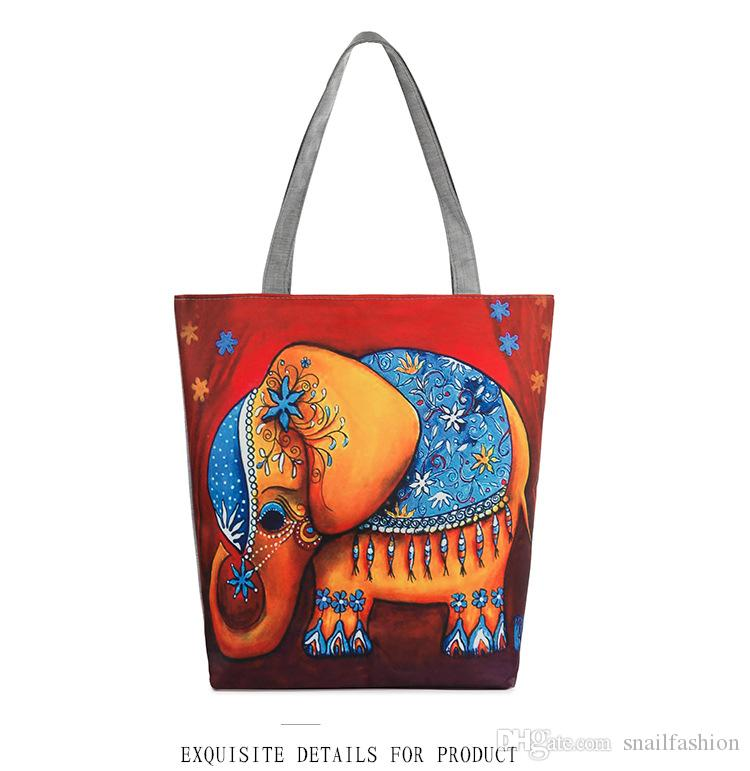 Elephant Printed Canvas Tote Women Casual Beach Bags Daily Use ...