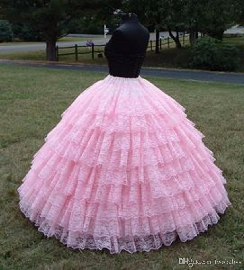 Fashion 9 Layers Pink Lace Ball Gown Petticoat Diameter Underwear ...