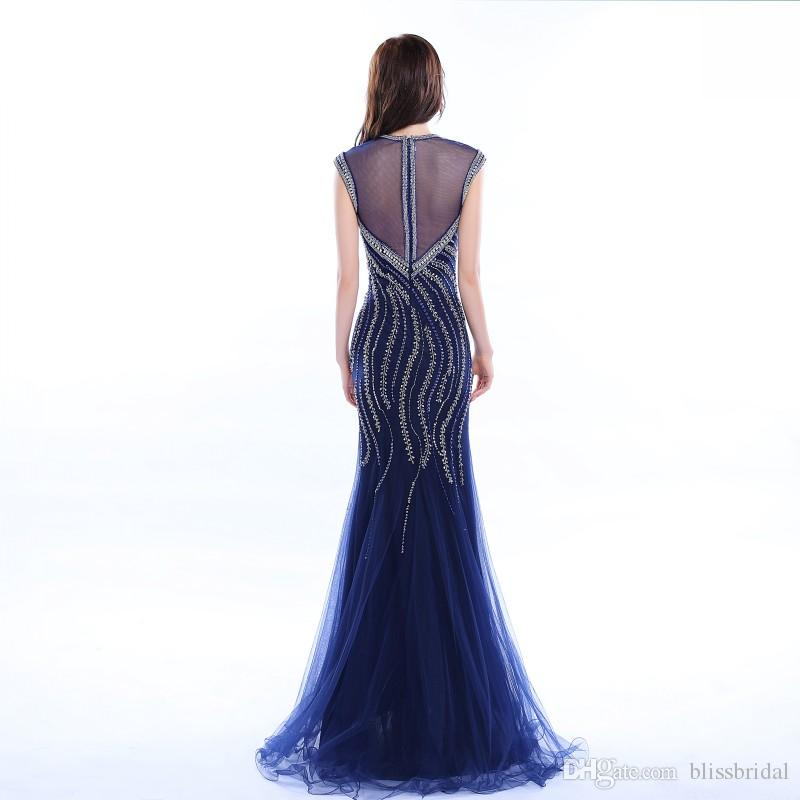 Crystal Tulle Evening Dress 2017 Crew Beaded Neck Fashion Party Gowns Floor Length Mermaid Party Dresses In Stock