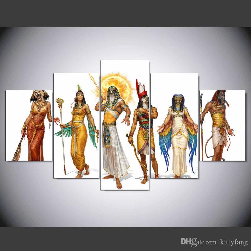 Satın Al 5 Adet Takım Hd Baskılı çerçeveli Mısır Tanrıları Ve