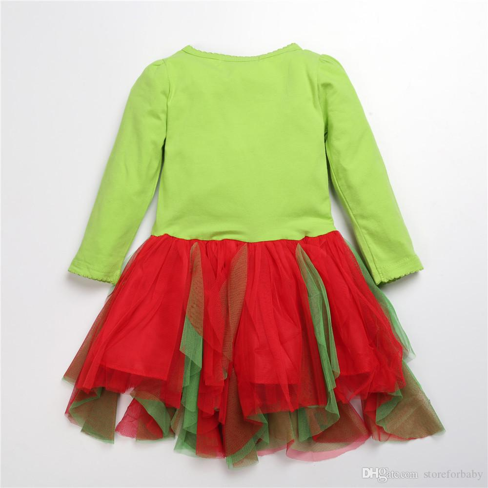 green reindeer clothing sets christmas kids baby autumn Xmas suits toddler t shirt dress child girls puff dresses striped girl pants