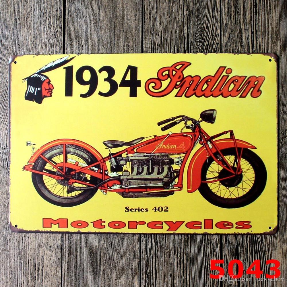 Motocicleta Vintage Craft Cartel de chapa Retro Metal Pintura Antiguo Hierro Cartel Bar Pub Signos Arte de la pared Etiqueta Diseños mixtos