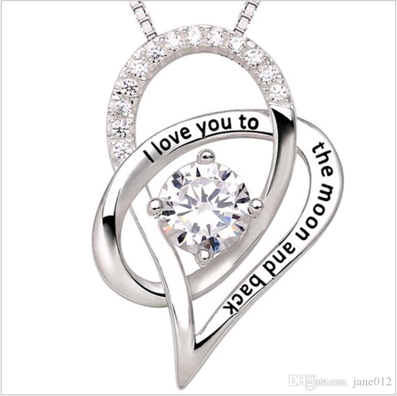 Te amo a la luna y la espalda Madre Hija Circón En forma de corazón 925 Collar con colgante de plata Joyería