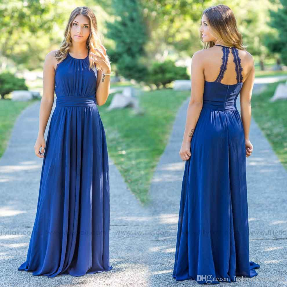 Royal Blue Chiffon Country Bridesmaid Dresses Long Lace Edge Halter ...