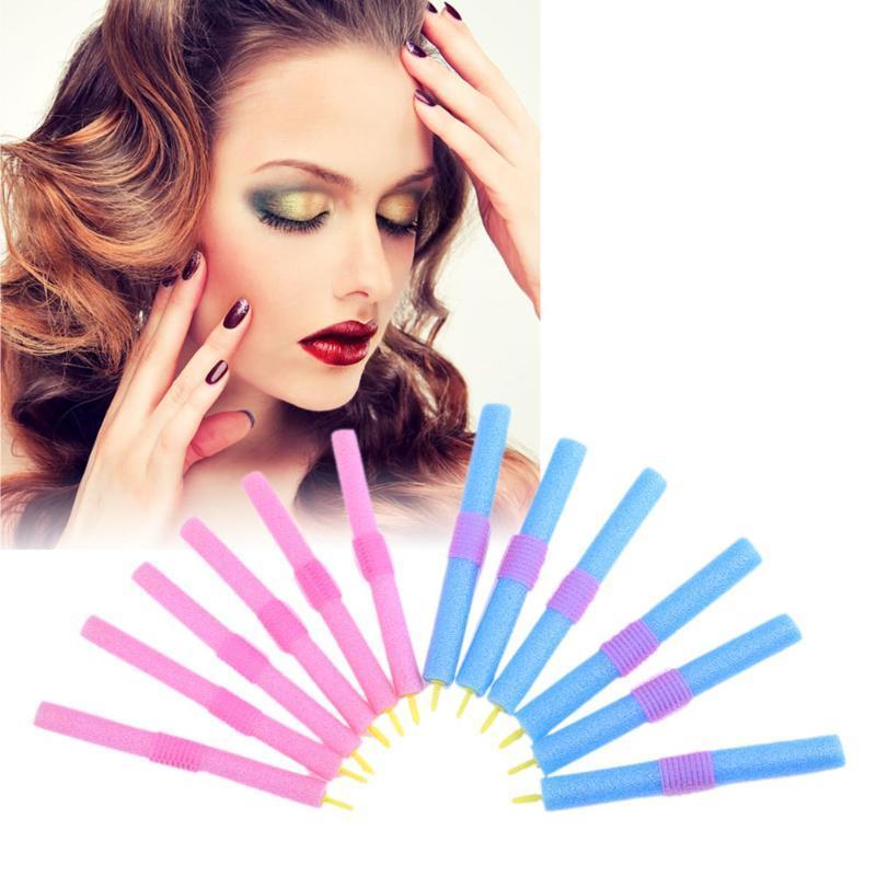 12Pcs/Lot DIY Hair Styling Sponge Rollers Portable Home Curls Wave Hair Curler Design Self-adhesive Bendy Foam Hair Rollers