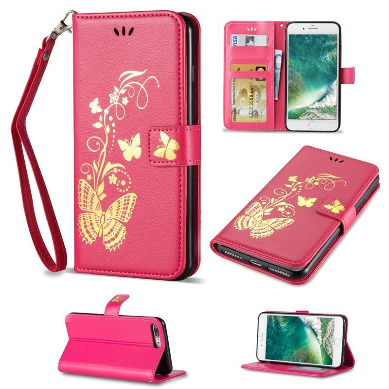 Bronzage Impression Portefeuille En Cuir Cas Papillon Date Couverture pour Samsung S5 S6 S7 S5 S5 S6 S5 Plus