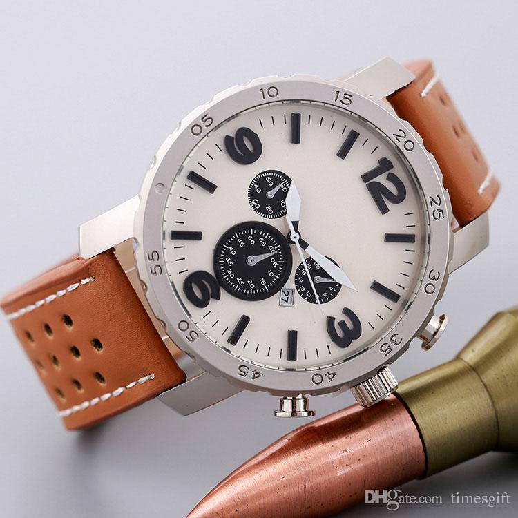 2017 Новый Большой Циферблат Роскошный Дизайн Мужские Часы Мода Кожаный Ремешок Кварцевые Часы Montre Часы Relogio Relojes Де Marca Спортивные Наручные Часы
