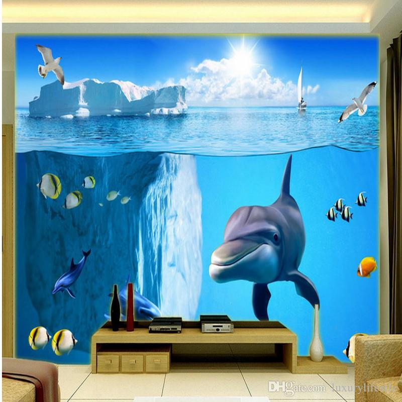 3d Stereo Custom Sea View Underwater World Dolphin Tv Backdrop
