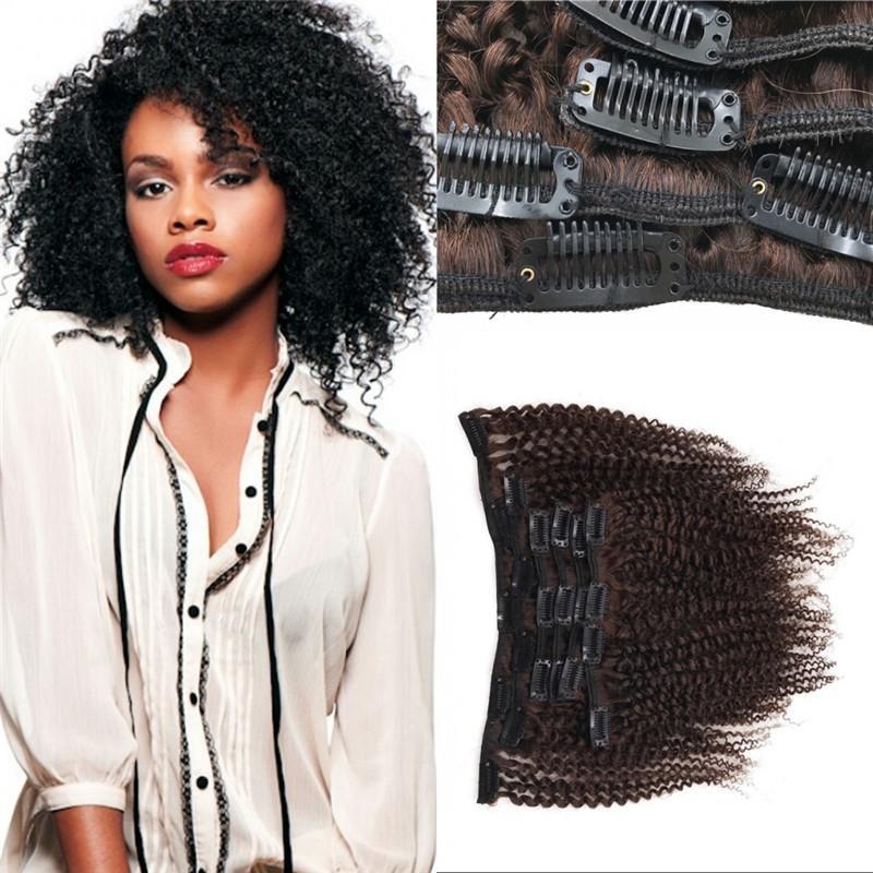 Afro Kinky Clip In Human Hair Extensions Brazilian Virgin Hair