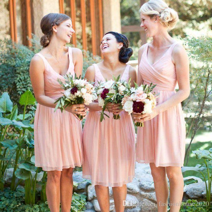 Light Pink Short Bridesmaid Dresses 2017 V Neck Cheap Chiffon Country Dress Sexy Wedding Guest Gowns For Weddings Ivory Non