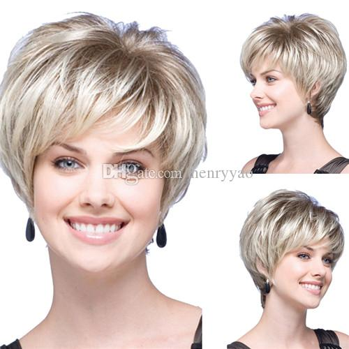 10inch Short Bob Cheap Wig Straight Fluffy Synthetic Hair Blonde Brown Wigs Side Bang Wig for Synthetic Women