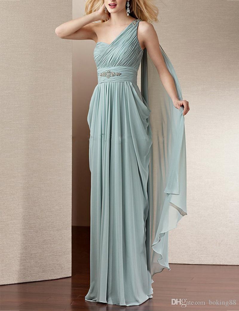 A Line Wedding Guest Dress 2017 Floor Length Chiffon One Shoulder ...