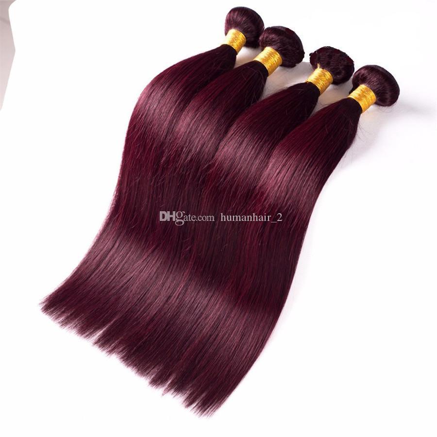 유럽 인간의 머리카락 번들 99j 부르고뉴 헤어 확장 와인 레드 실크 스트레이트 헤어 번들 8a 학년 저렴한 가격으로 높은 품질
