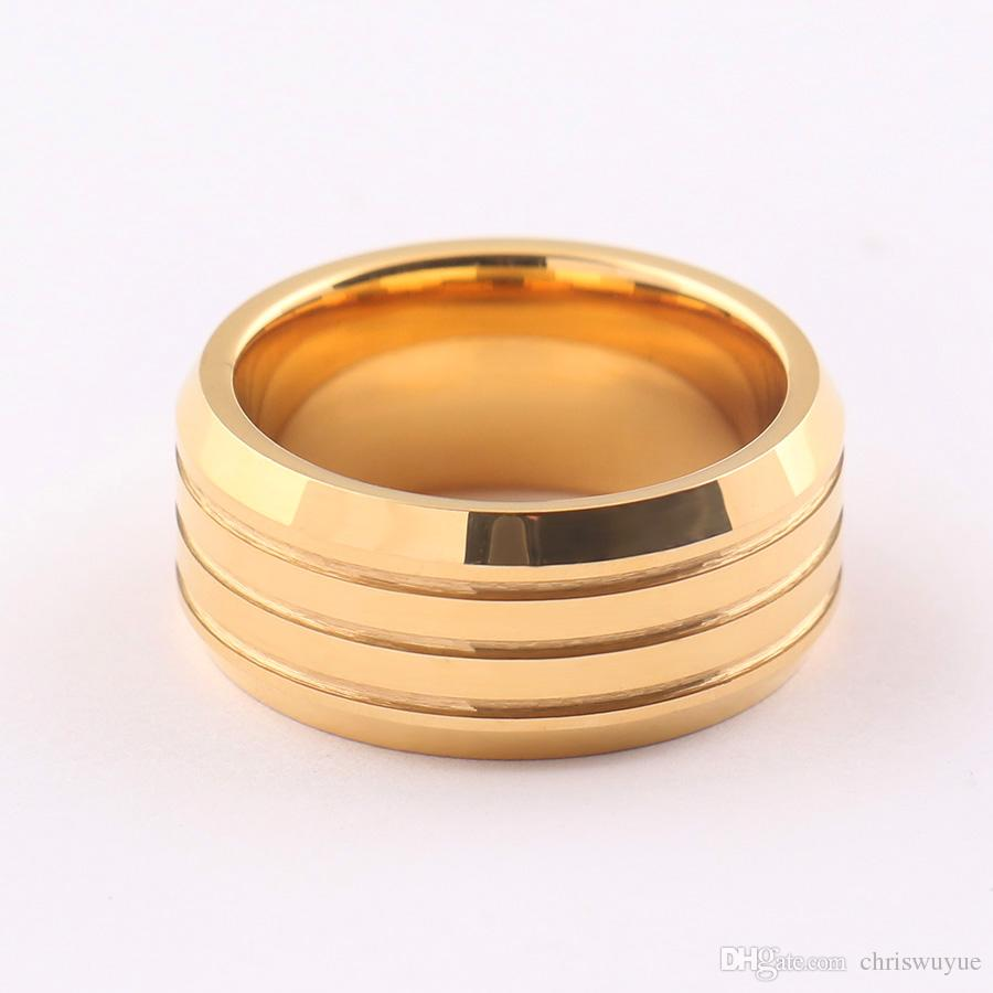 MR90 USA 6-13 사람 홈 링 남성 보석 크기에 결혼 반지 밴드 반지 텅스텐 패션 폭 8mm 골드 도금 남성