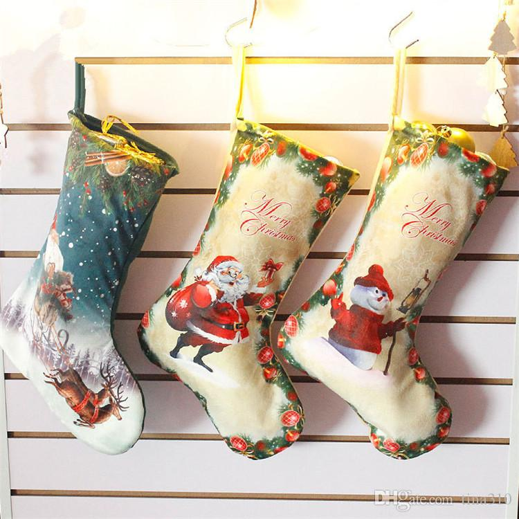 Hot Christmas Bag Ornaments Embellished Non Woven Fabrics Christmas Socks Party Gifts For Kids Candy Bag Christmas Stockings IB506