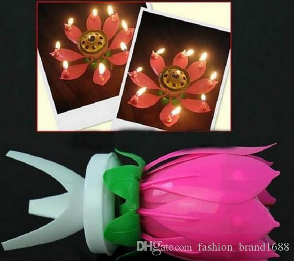 Lotus flower music candle beautiful blossom lotus flower candle lotus flower music candle beautiful blossom lotus flower candle birthday party cake music sparkle cake topper rotating candle red votive candles religious mightylinksfo