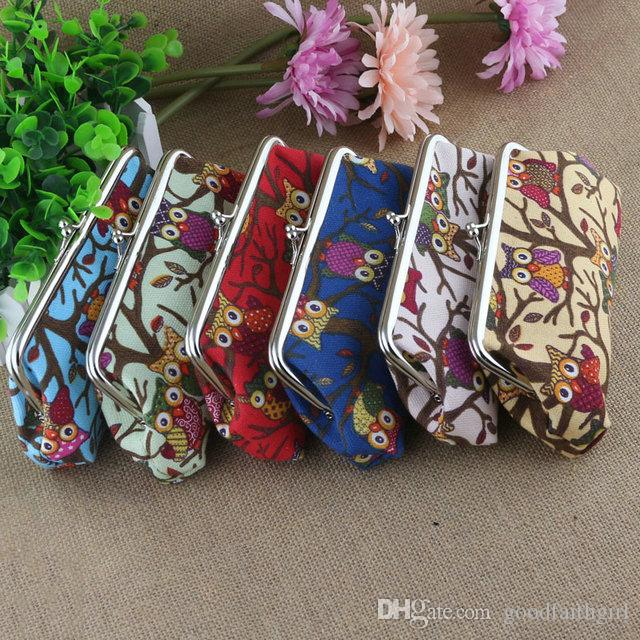 18*9CM Coin Purse Canvas cartoon Owl Wallet Hasp Clutch Mobile Phone HandbagMoney Bag Vintage Coin Purse key holder Xmas gift