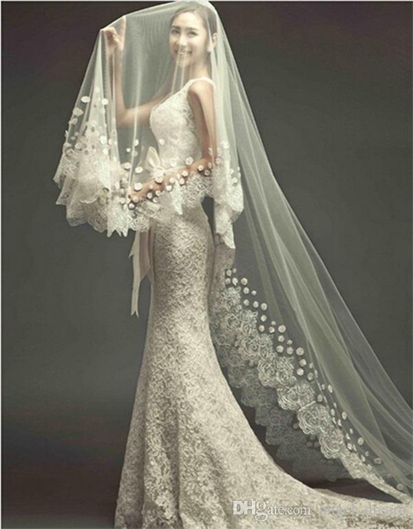 Brand New Veil de mariage de luxe avec longue série 3M Blanc Appliques / Ivoire Princesse Accessoires de mariage pour robe élégante mariée Veils