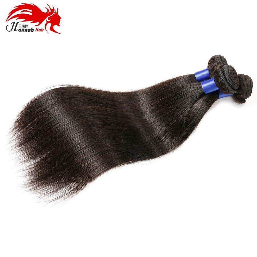 [Волосы Ханны] бразильские прямые девственные волосы только 100% Unprocessed человеческие волосы соткут пачки естественный цвет 10-28Inch