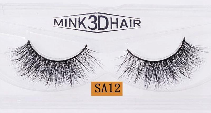 3D Handmade Thick Mink Eyelashes Natural False Eyelashes for Beauty Makeup fake Eye Lashes Extension SA12 1-1.5cm