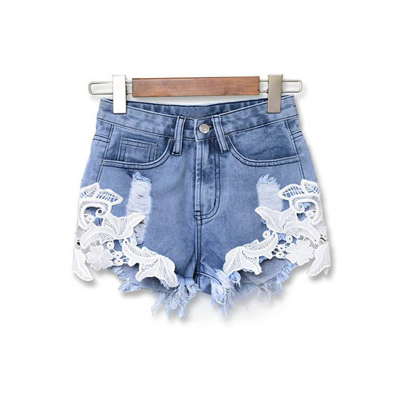 Summer 2016 Ripped High Waist Women Casual Shorts Sexy Lace Blue Denim Shorts Vintage Jeans Girl European Hot Shorts