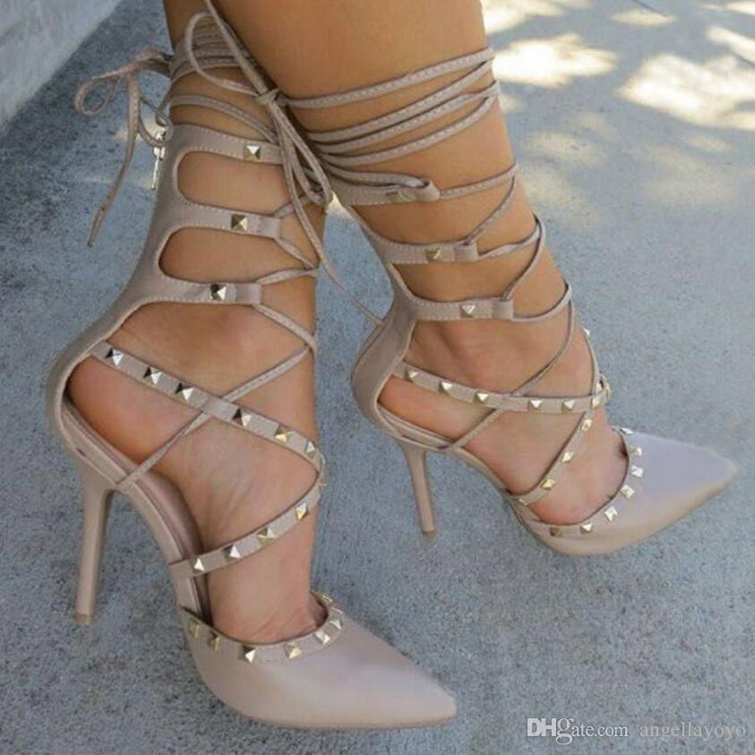 Roman Sandals Women Pumps European Ladies Sexy Hollow Cross Lace Up Rivets Stiletto High Heels Shoes