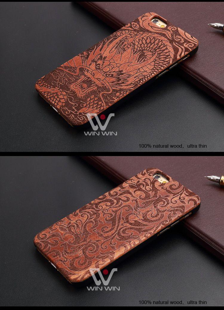 Retro Doğal Vintage Ceviz Oyma Ahşap Kılıf Kapak Iphone 7 6 6 S Artı 5 S Sert Ahşap PC Bambu Cep Telefonu Kılıfları