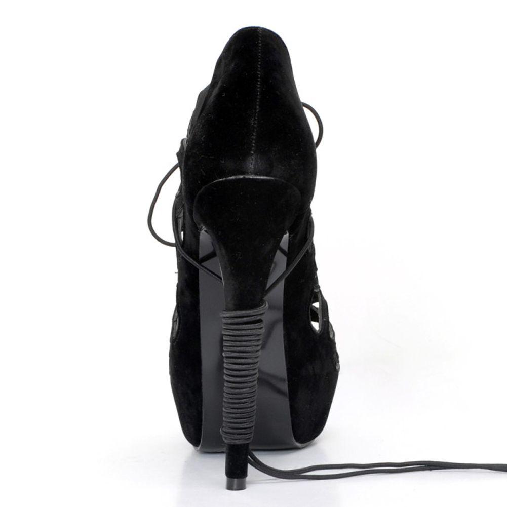 Zandina Atacado Womens Handmade Moda 14.5 cm Lace-up Sapatos De Salto Alto Plataforma Vestido Noite Sandálias Sapatos Preto XD188