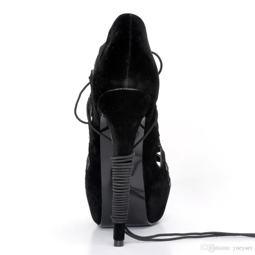 Zandina Toptan Bayan El Yapımı Moda 14.5 cm Dantel-up Yüksek Topuk Platformu Elbise Akşam Sandalet Ayakkabı Siyah XD188
