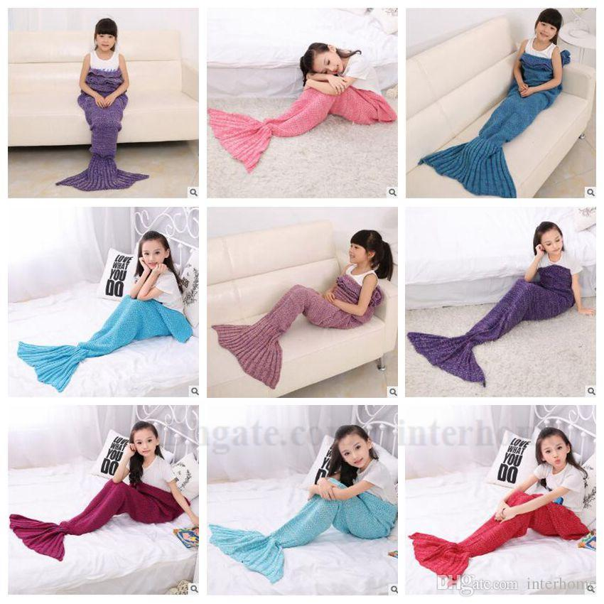 Kids Mermaid Tail Blankets Hand Crochet Mermaid Blankets Mermaid Costume Cocoon Mermaid Sleeping Bags Bed Knit Sofa Blankets Gifts B1360 10