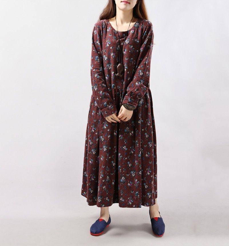 2017 새로운 스타일의 가을 겨울 여성 드레스 빈티지 인쇄 캐주얼 긴 소매면 리넨 맥시 드레스 스윙 꽃 빅 사이즈 드레스