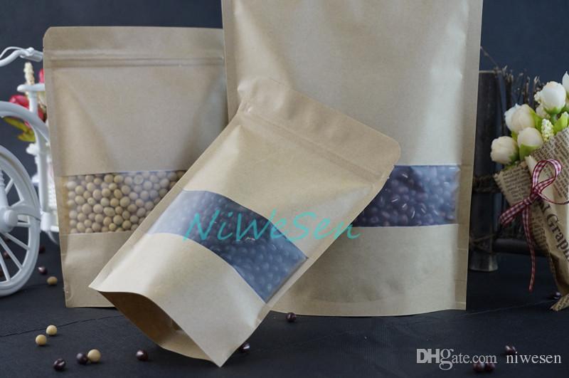 18x26 cm 100 adet / grup X kahverengi stand up kraft kağıt mat şeffaf pencere kilitli torbalar ile açılıp kapanabilir kahve çekirdeği / yulaf ezmesi kağıt kese