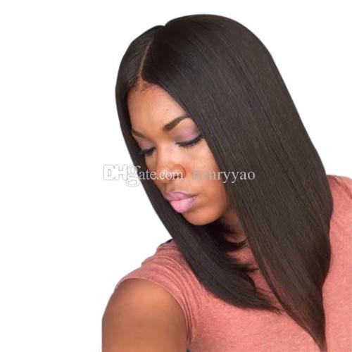 Cheap Medium Long Wig Straight Black Brown Synthetic Hair Wigs Fashion Medium Side Bang Synthetic Wig