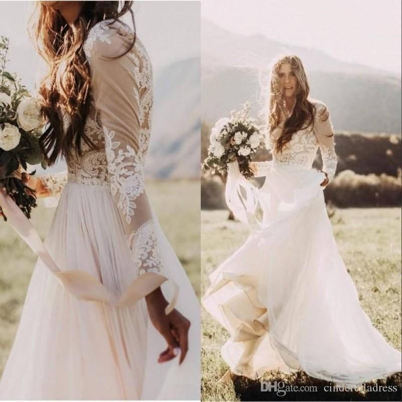 Discount 2018 bohemian country wedding dresses with sheer for Country wedding dresses cheap