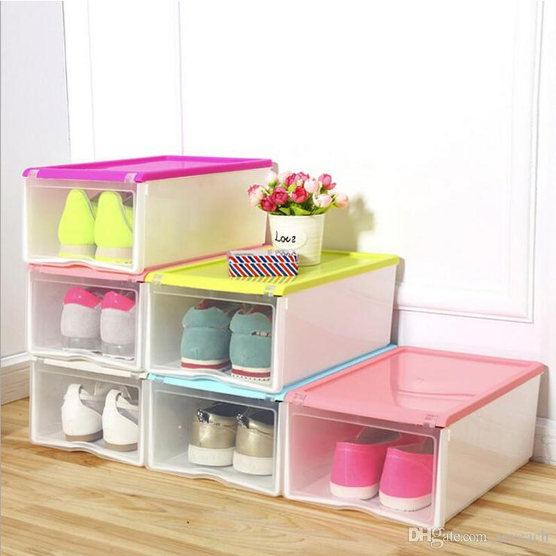 DIY Candy Color Durable Translucent Plastic Shoe Storage Box Clear Shoebox Shoes  Boxes Organizer DIY Plastic Shoe Storage Box Clear Shoebox Shoes Boxes ...
