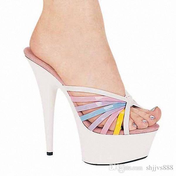 Compre Personalizar Mujeres Zapatos De Verano Super 15 Cm Plataforma De Tacones  Altos Sexy Tacones Altos Zapatillas Slipper Impermeable Mujeres Zapatos ... 663989c307e2