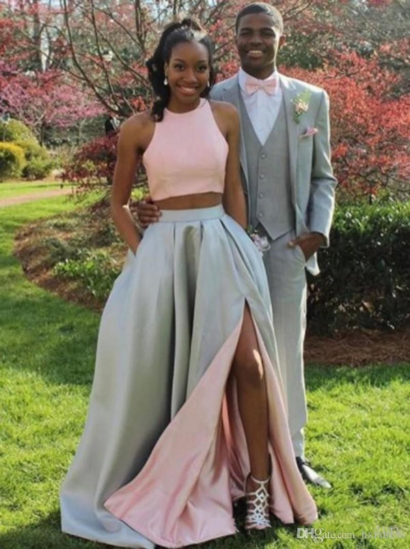 2018 nueva moda de dos piezas vestidos de baile largos formales en dos tonos Blush Pink Silver Evening Party vestidos con Split sexy y bolsillos 432
