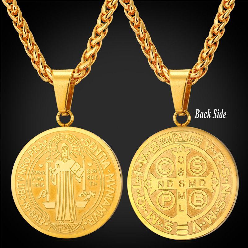 8c438b739a368 Compre 18 K Real Banhado A Ouro De Aço Inoxidável São Bento Medalha ...