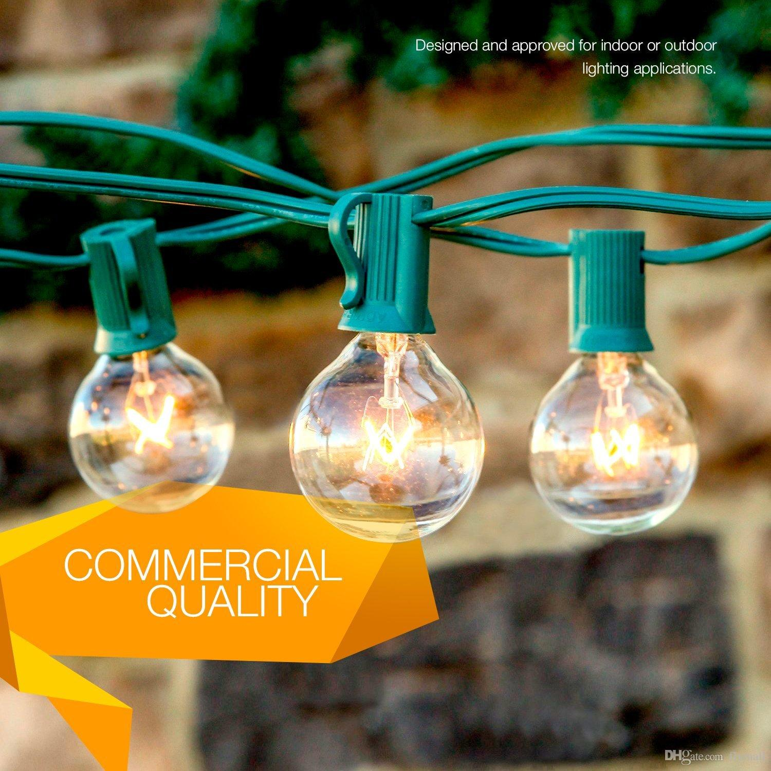2*25Ft 25 Bulbs String Lights Clear Globe G40 Bulb String Light Set Indoor/Outdoor Christmas Wedding Party Patio String Lights Umbrella Lamp