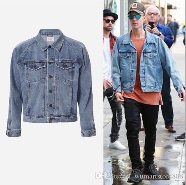 Fear Of God Denim Jacket Justin Bieber Oversized Jean Biker Jacket ...
